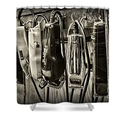 Barbershop Clippers In Black And White Shower Curtain