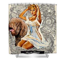 Barbet Art - Una Parisienne Movie Poster Shower Curtain by Sandra Sij