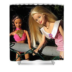 Shower Curtain featuring the photograph Barbie Escapes by Nina Silver