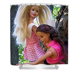Shower Curtain featuring the photograph Barbie's Climbing Trees by Nina Silver
