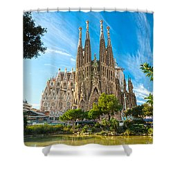 Barcelona - La Sagrada Familia Shower Curtain by Luciano Mortula