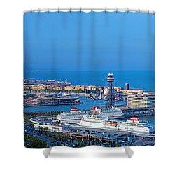 Barcelona Panorama Shower Curtain by Michal Bednarek