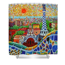 Barcelona Sunrise - Guell Park - Gaudi Tower Shower Curtain