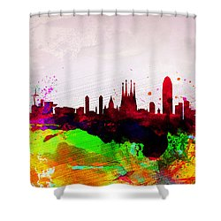 Barcelona Watercolor Skyline Shower Curtain by Naxart Studio