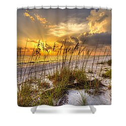 Barefot Sunset Shower Curtain by Sean Allen