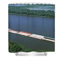 Barge In A River, Mississippi River Shower Curtain