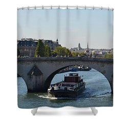 Barge On River Seine Shower Curtain