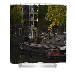 barges in Amsterdam Shower Curtain