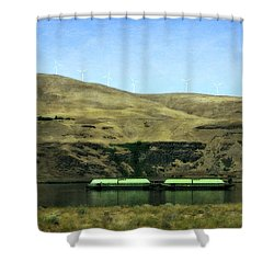 Barges On The Columbia Shower Curtain