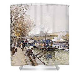 Barges On The Seine Shower Curtain by Eugene Galien-Laloue