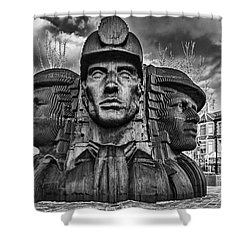 Bargoed Miners 2 Mono Shower Curtain by Steve Purnell