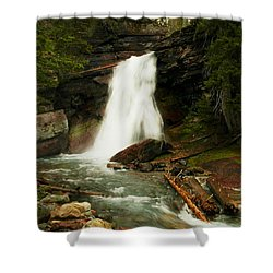 Baring Falls Glacier National Park Montana Shower Curtain by Jeff Swan
