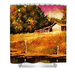 Barn Above The Creekbed Shower Curtain by Al Brown