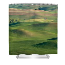 Barn Among The Contours Shower Curtain