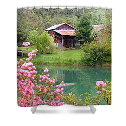 Barn And Flowers Near Pond Shower Curtain