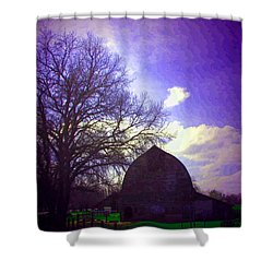 Barn And Oak Digital Painting Shower Curtain by Joyce Dickens