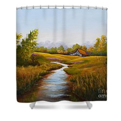 Barn And Stream Shower Curtain