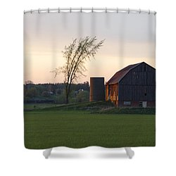 Barn At Dusk Shower Curtain
