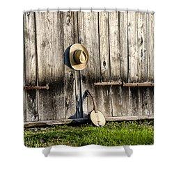 Barn Door And Banjo Mandolin Shower Curtain by Bill Cannon