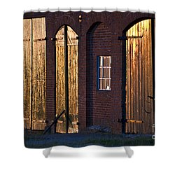 Barn Door Lighting Shower Curtain by Heiko Koehrer-Wagner
