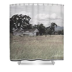 Shower Curtain featuring the photograph Barn In Black N White by Bobbee Rickard