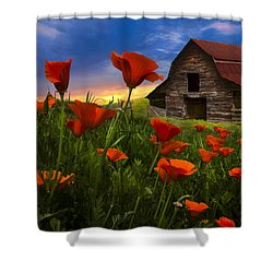 Barn In Poppies Shower Curtain