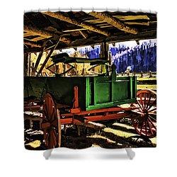 Shower Curtain featuring the painting Barn by Muhie Kanawati