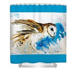 Da145 Barn Owl Ruffled Daniel Adams Shower Curtain
