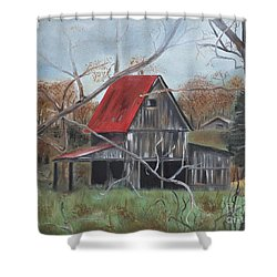 Shower Curtain featuring the painting Barn - Red Roof - Autumn by Jan Dappen