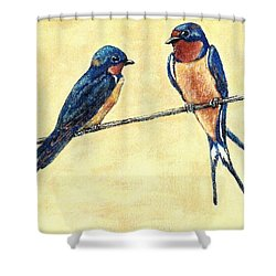 Barn-swallow Pair Shower Curtain by VLee Watson