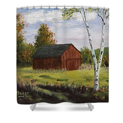 Barn With Lone Birch Shower Curtain
