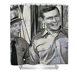 Barney Fife And Andy Taylor Shower Curtain