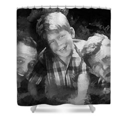 Barney Opie And Andy Shower Curtain by Paulette B Wright