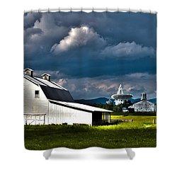 Barns And Radio Telescopes Shower Curtain