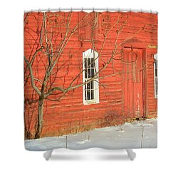 Shower Curtain featuring the photograph Barnwall In Winter by Rodney Lee Williams