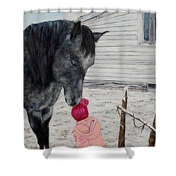 Barnyard Kiss Shower Curtain by Marilyn  McNish