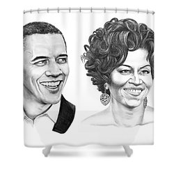 Barrack And Michelle Obama Shower Curtain by Murphy Elliott
