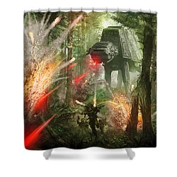 Barrage Attack Shower Curtain