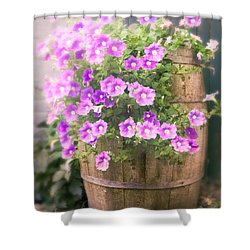 Shower Curtain featuring the photograph Barrel Of Flowers - Floral Arrangements by Gary Heller