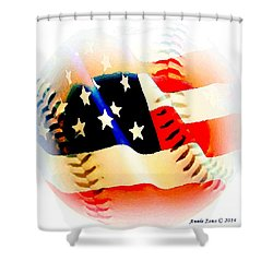 Baseball And American Flag Shower Curtain by Annie Zeno
