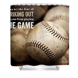 Baseball Art Featuring Babe Ruth Quotation Shower Curtain by Lisa Russo
