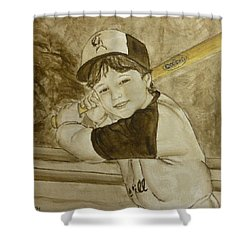 Shower Curtain featuring the painting Baseball At It's Best by Kelly Mills