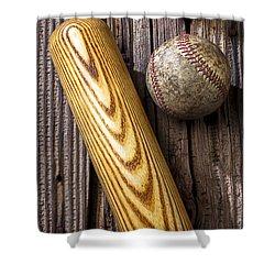 Baseball Bat And Ball Shower Curtain by Garry Gay