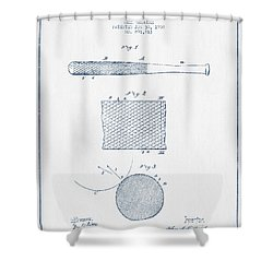 Baseball Bat Patent Drawing From 1904 - Blue Ink Shower Curtain by Aged Pixel