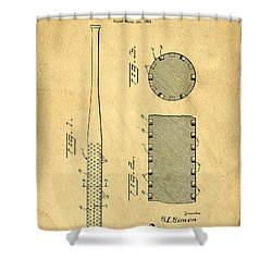 Baseball Bat Patent Shower Curtain by Edward Fielding