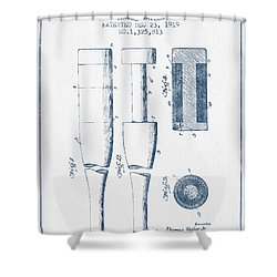 Baseball Bat Patent From 1919 - Blue Ink Shower Curtain