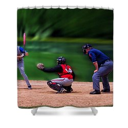 Baseball Batter Up Shower Curtain by Thomas Woolworth