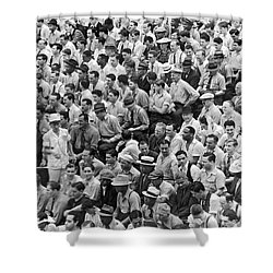 Baseball Fans In The Bleachers At Yankee Stadium. Shower Curtain by Underwood Archives