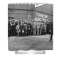 Baseball Fans Waiting In Line To Buy World Series Tickets. Shower Curtain by Underwood Archives