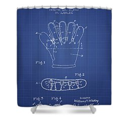 Baseball Glove Patent From 1922 - Blueprint Shower Curtain by Aged Pixel